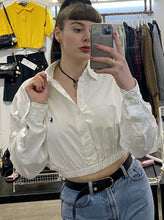 Load image into Gallery viewer, Vintage 90s Reworked Ralph Lauren Crop Top Shirt in White in S
