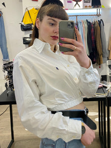Vintage 90s Reworked Ralph Lauren Crop Top Shirt in White in S
