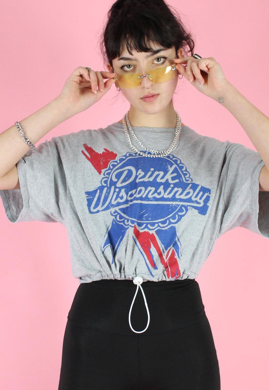 Vintage 90s Reworked Crop Top in Blue Grey with Drink Print in S/M