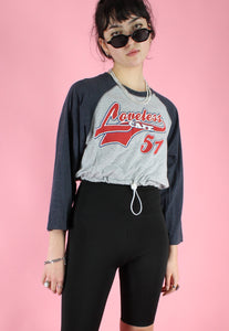 Reworked Crop Top in Grey with Loveless Print Long Sleeved in M