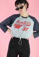 Load image into Gallery viewer, Reworked Crop Top in Grey with Loveless Print Long Sleeved in M