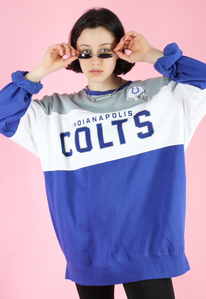 Vintage 90s Sweatshirt Jumper in Blue & White with Colts Print in L