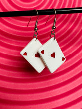 Load image into Gallery viewer, Vintage Inspired Earrings Playing Cards Heart in White and Red with Silver Detail