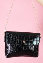 Load image into Gallery viewer, Vintage Inspired Bag Cross Body in Faux Snake Leather Black