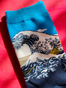 Vintage Inspired Socks with Waves Print in Blue