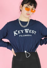 Load image into Gallery viewer, Reworked Crop Top in Blue with Florida Key West Print Long Sleeved in M