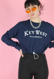 Reworked Crop Top in Blue with Florida Key West Print Long Sleeved in M