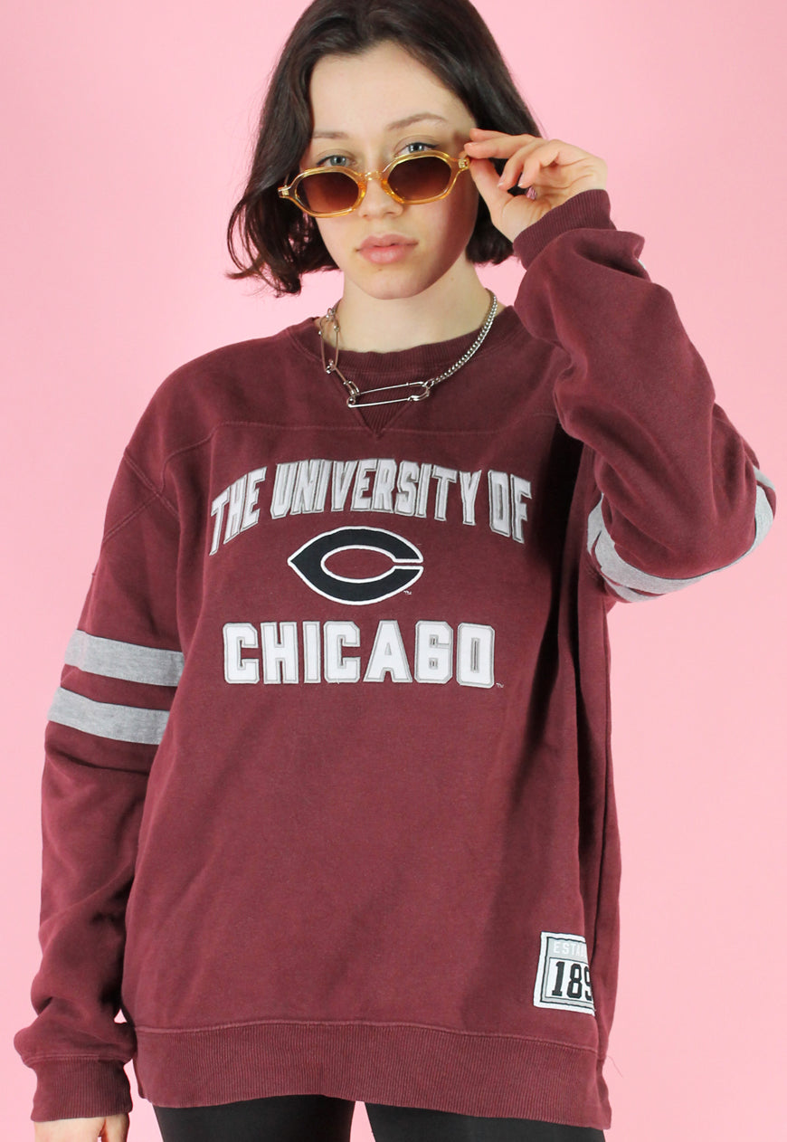 Vintage 90s Sweatshirt Jumper in Red with Chicago Print in L