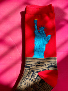 Vintage Inspired Socks with Statue of Liberty Print in Red, Blue and Brown