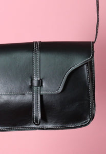 Vintage Inspired Bag Cross Body in Black Faux Leather