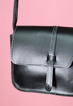 Load image into Gallery viewer, Vintage Inspired Bag Cross Body in Black Faux Leather