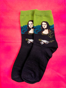 Vintage Inspired Socks with Mona Lisa Print in Green and Black