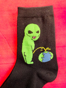 Vintage Inspired Socks with Alien Print in Black and Green