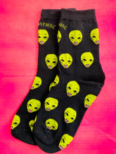 Load image into Gallery viewer, Vintage Inspired Socks with Alien Print in Black and Green