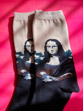 Load image into Gallery viewer, Vintage Inspired Socks with Mona Lisa Print in Beige and Black