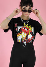 Load image into Gallery viewer, Reworked Crop Top in Black with M&M's Vegas Print in S