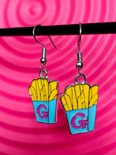 Load image into Gallery viewer, Vintage Inspired Earrings Fries in Yellow and Blue with G Letter