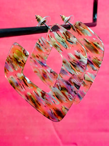 Vintage Inspired Earrings in Square Shape in Transparent with Multicolour Details
