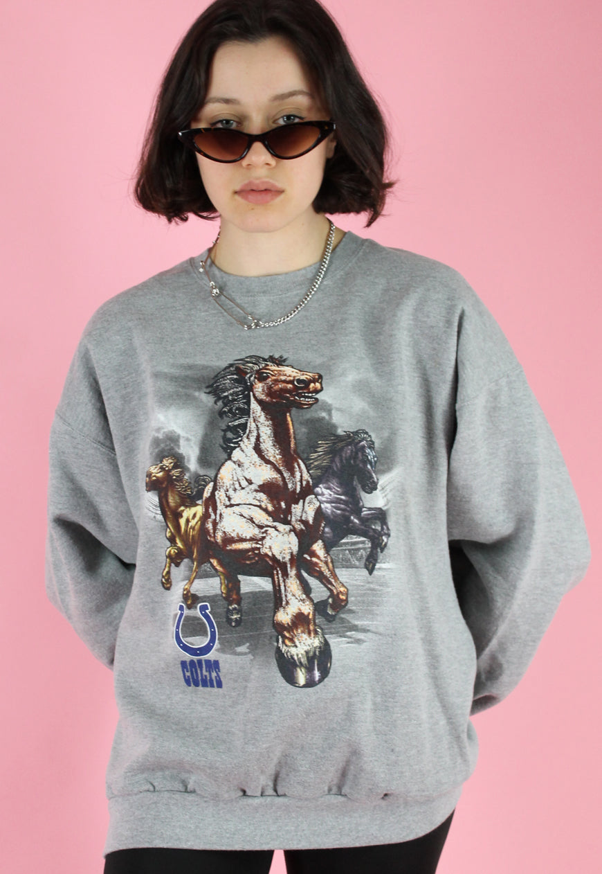 Vintage 90s Sweatshirt Jumper in Grey with Horse Print in L