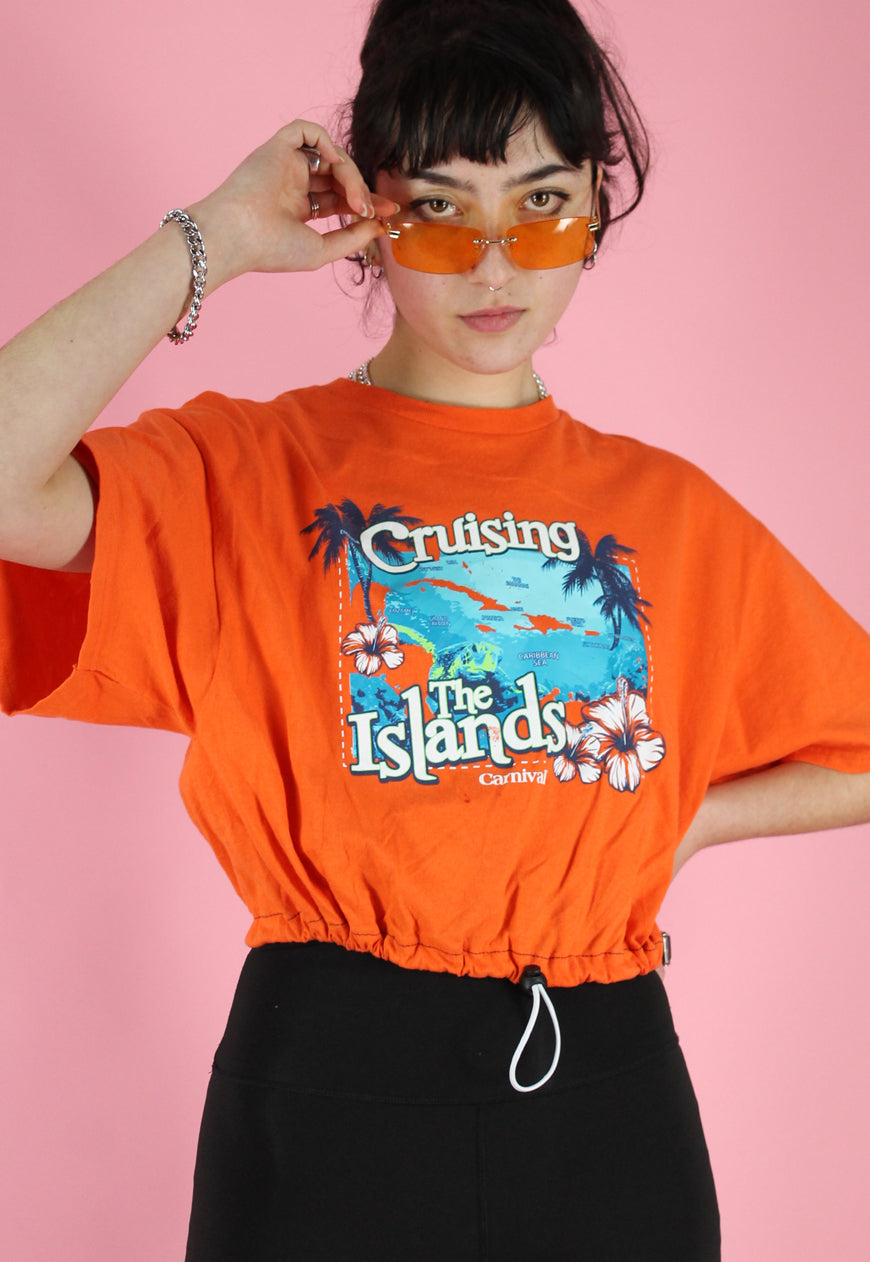 Reworked Crop Top in Orange with Caribbean Print in M