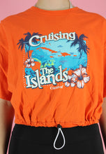 Load image into Gallery viewer, Reworked Crop Top in Orange with Caribbean Print in M