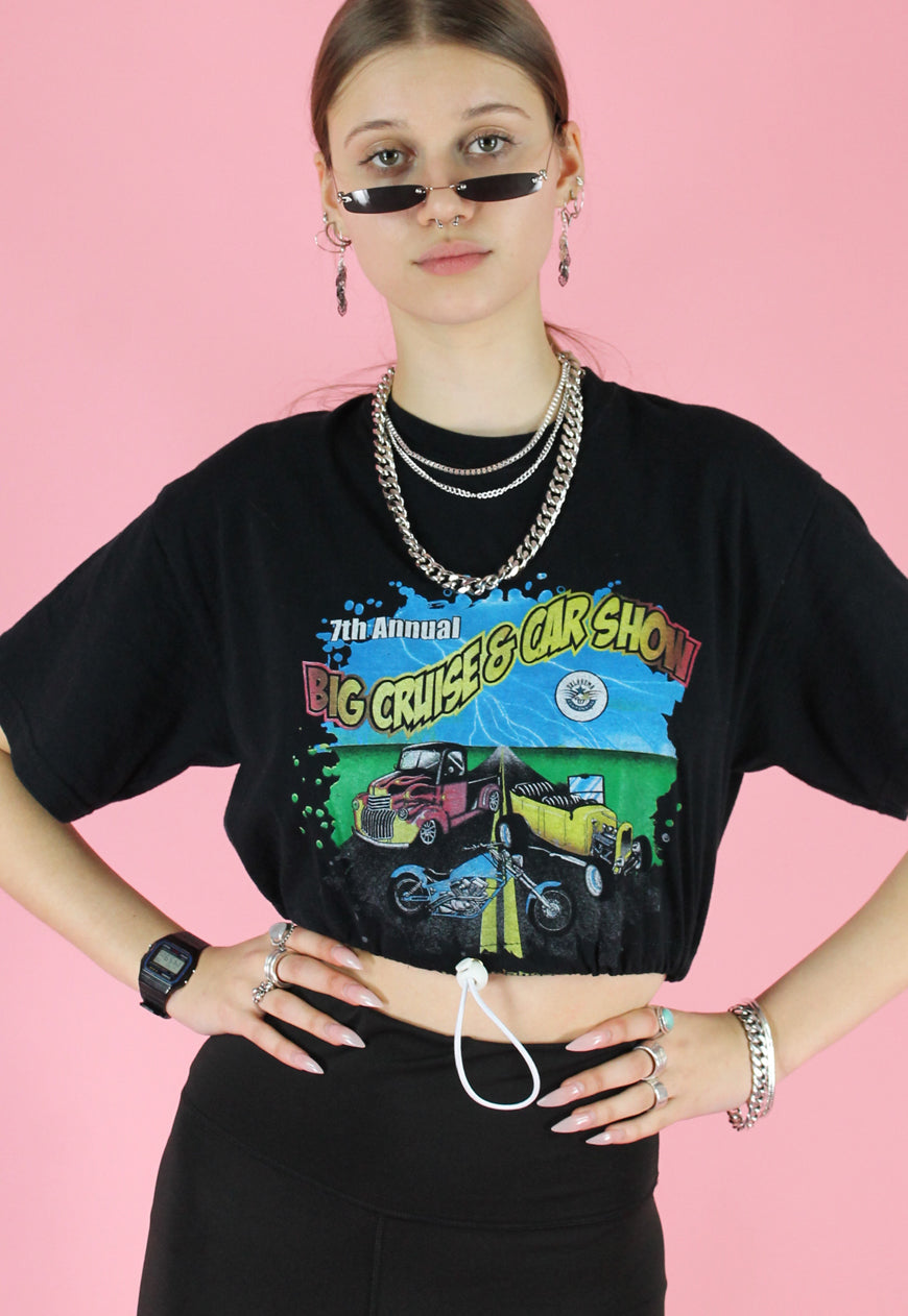 Vintage 90s Reworked Crop Top in Black with Car Show Print in S