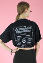 Load image into Gallery viewer, Vintage 90s Reworked Crop Top in Black with Car Show Print in S