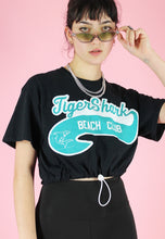 Load image into Gallery viewer, Vintage 90s Reworked Crop Top in Black with Beach Club Print in M