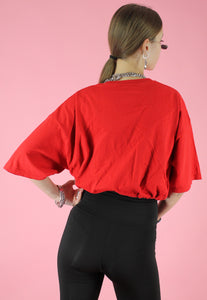 Vintage 90s Reworked Crop Top in Red with El Toro Taco Print in M