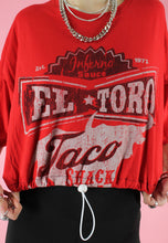 Load image into Gallery viewer, Vintage 90s Reworked Crop Top in Red with El Toro Taco Print in M