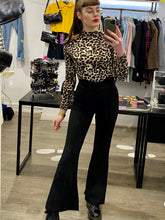 Load image into Gallery viewer, Vintage Inspired Flared Trousers High Waisted in Black with Buttons in XS/S or M/L