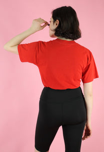 Vintage 90s Reworked Crop Top in Red with Steak House Print in S