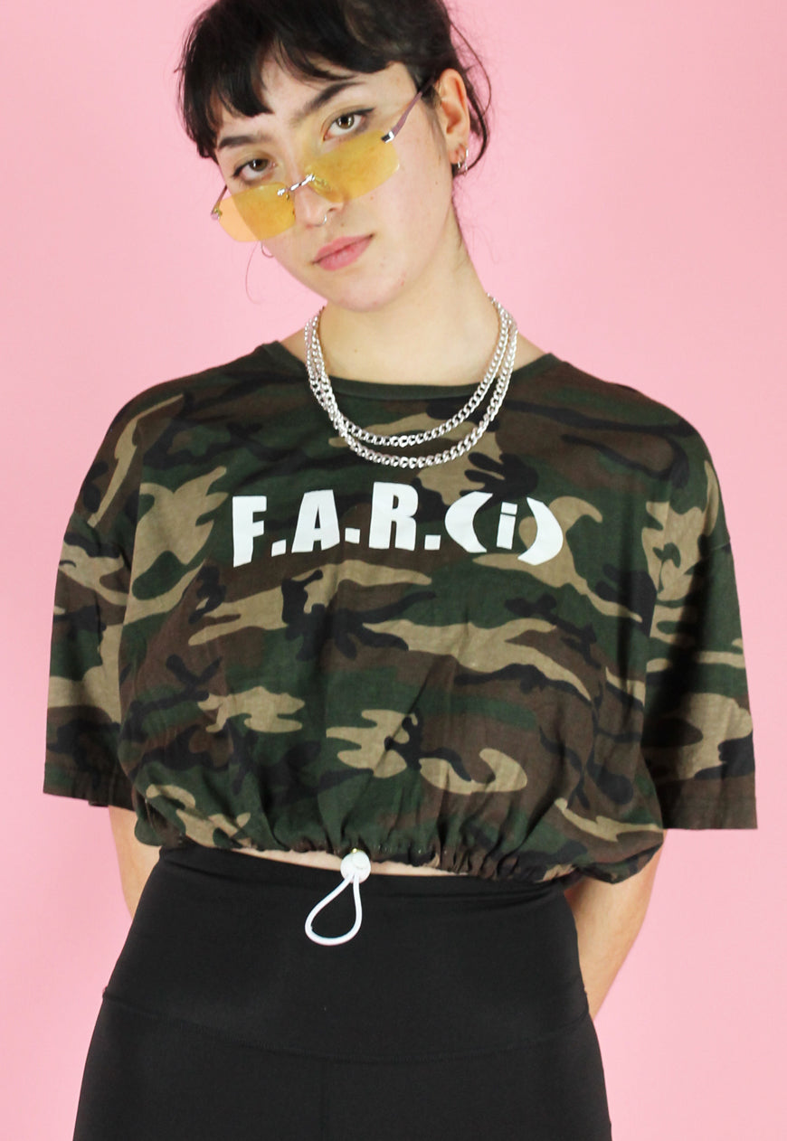 Vintage 90s Reworked Crop Top in Green Brown Camouflage in M