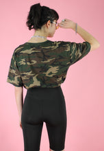 Load image into Gallery viewer, Vintage 90s Reworked Crop Top in Green Brown Camouflage in M