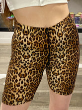 Load image into Gallery viewer, Vintage Inspired Bike Shorts with Leopard Print in Brown Cycling in M