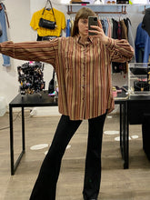 Load image into Gallery viewer, Vintage Corduroy Shirt in Beige Brown Red Striped with Pocket in L/XL