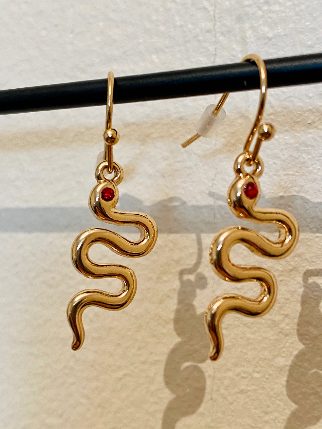 Vintage Inspired Snake Earrings in Gold with Red Gem Detail