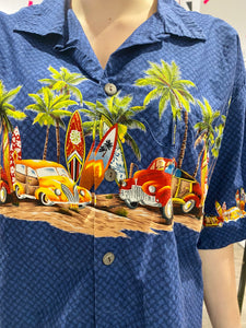 Vintage Shirt Hawaiian Short Sleeved in Blue with Red and Yellow Cars and Palm Trees Print in XL
