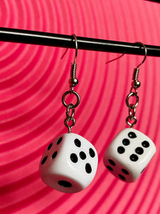 Vintage Inspired Earrings Dice in White and Black with Silver Detail