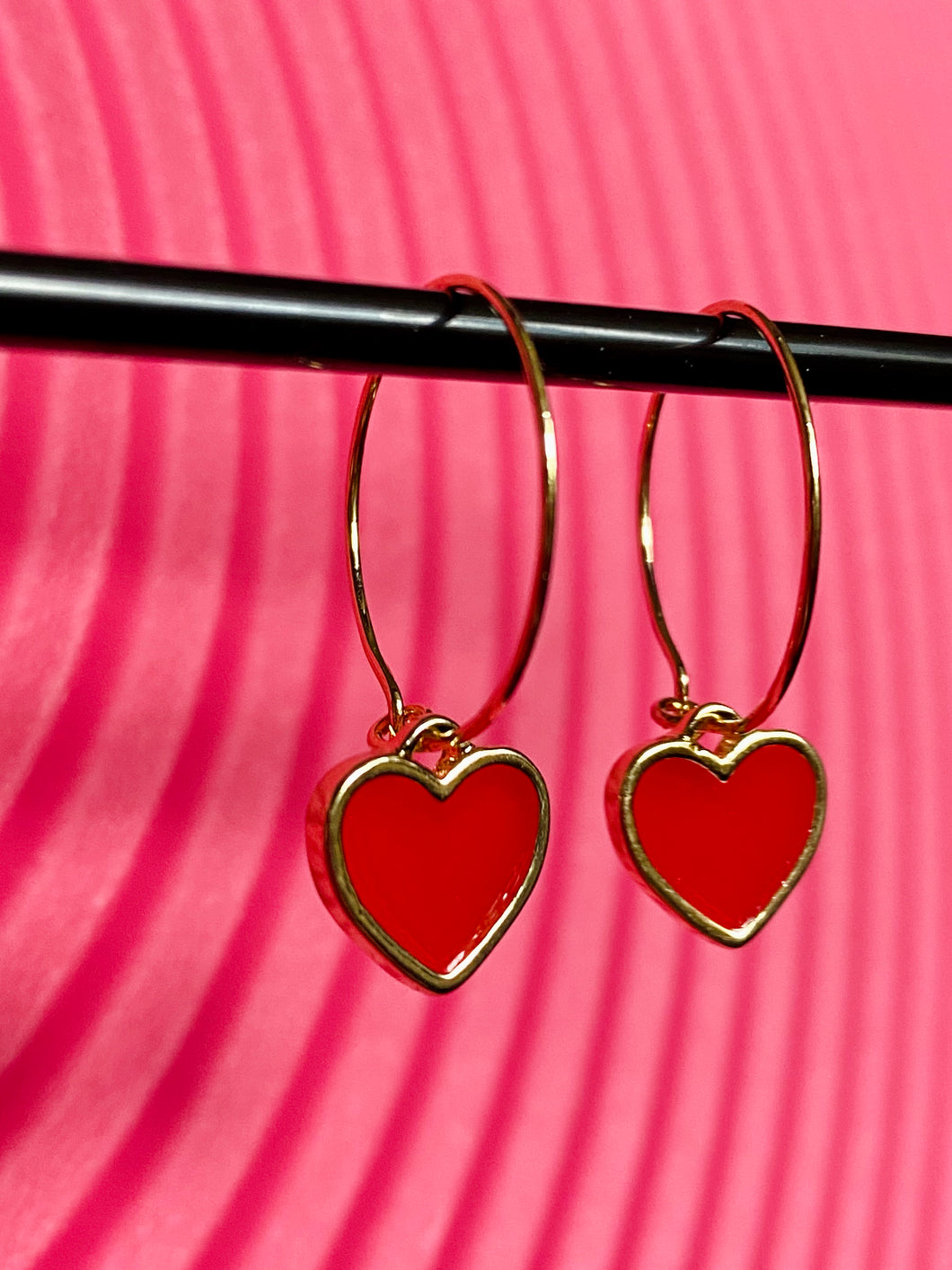 Vintage Inspired Hoops Earrings in Gold with Red Heart Pendant