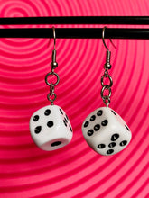 Load image into Gallery viewer, Vintage Inspired Earrings Dice in White and Black with Silver Detail