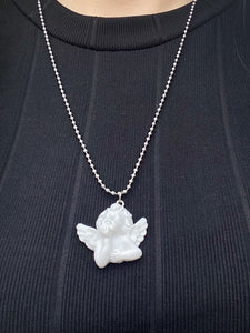 Vintage Inspired Angel Necklace with White Cherub Pendant