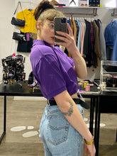 Load image into Gallery viewer, Vintage Reworked Ralph Lauren Crop Top Polo Shirt in Purple in M