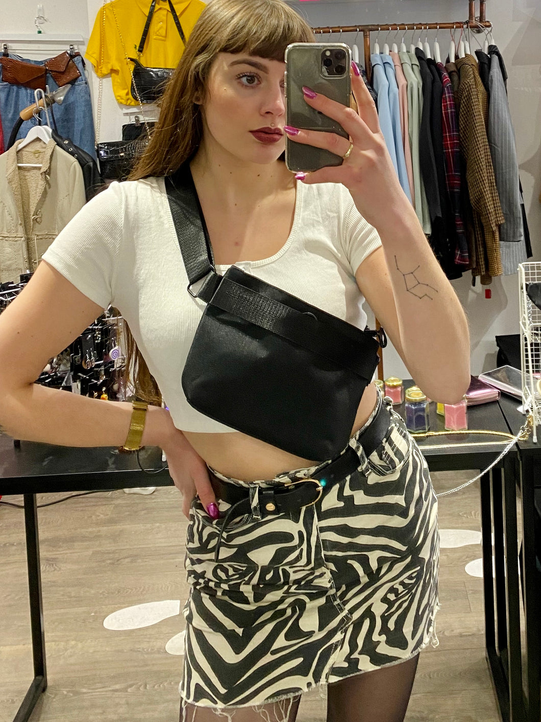 Vintage Inspired Bum Bag Cross Body in Black Fanny Pack