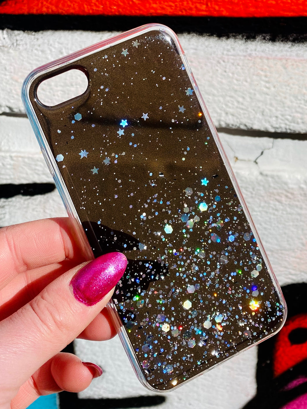 ONIMOS iPhone Case in Black Transparent with Sparkling Glitter