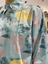 Load image into Gallery viewer, Vintage 90s Shirt Long Sleeve in Blue with Pink and Yellow Flower Print and Pocket in L
