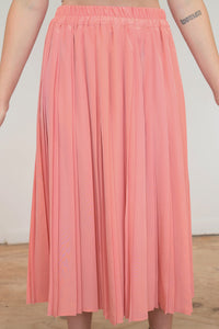 Vintage 70s Skirt Pleated Midi in Peach in M