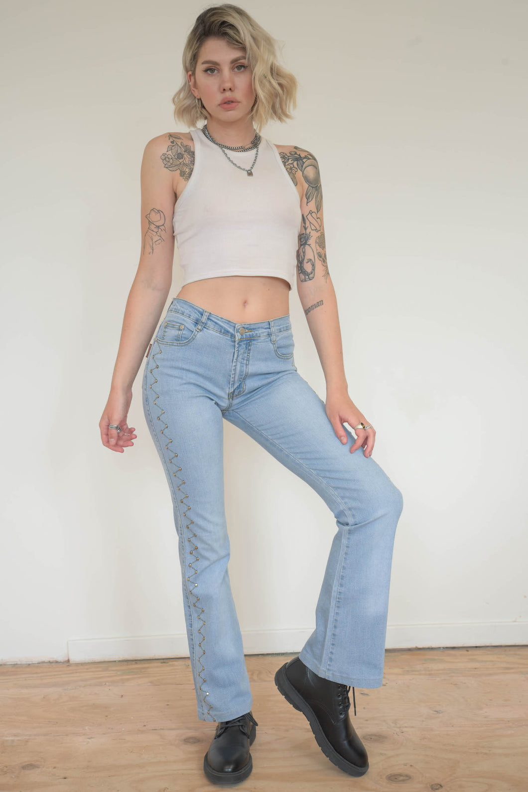 Vintage 00s Y2K Denim Flares in Light Blue with Side Detail in S