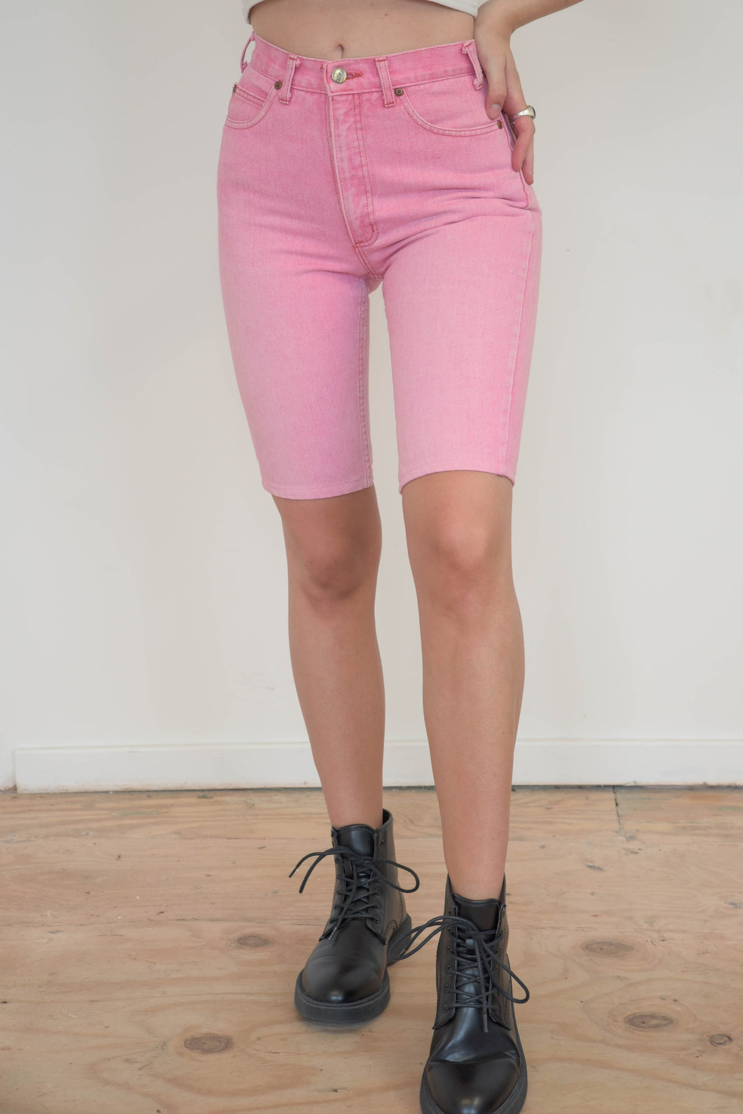 Vintage 90s Denim Shorts Bermuda in Pink in XS
