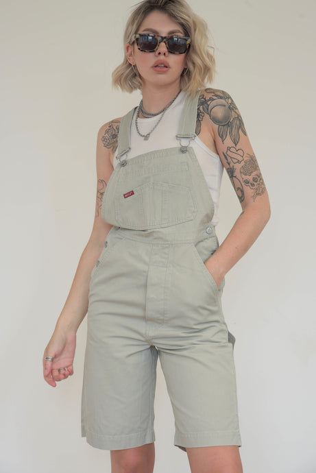 Vintage 90s Dungaree Shorts in Beige in S